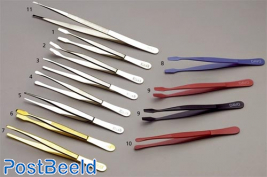 Colored tweezers model curved shovel (type K54) (9), each piece