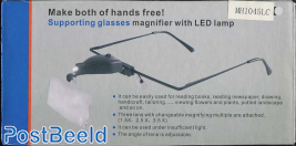 Supporting Glasses Magnifier with LED Lamp