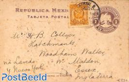 Postcard 1c, uprated to UK