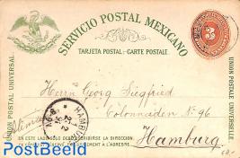 Postcard 3c, to Hamburg