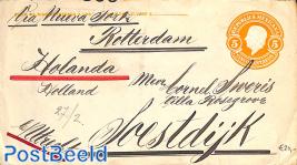 Envelope 5c, uprated (on back), censored to Soestdijk (NL)