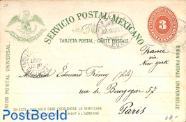 Postcard 3c, from PUEBLA to Paris