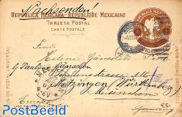 Postcard 4c on 3c to Germany