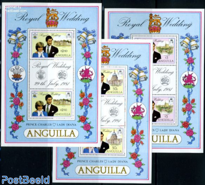 Charles & Diana wedding 3 minisheets