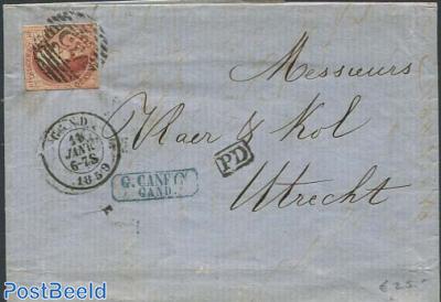 folding letter from Gent to Utrecht