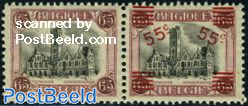 Pair (one stamp with, one without overprint)