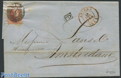 Folding letter from Antwerpen to Amsterdam