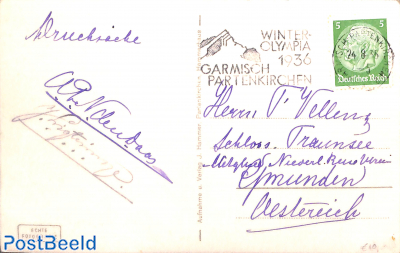 Postcard with prom. postmark Olympic winter games Garmisch Partenkirchen