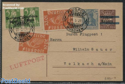 Postcard by Airmail from Muenchen to Volkach