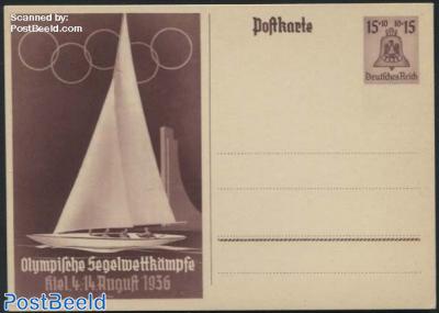 Postcard Olympic sailing 15+10pf