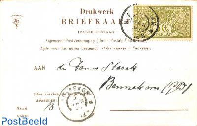 NVPH No. 85 on postcard from Amsterdam to Bennekom