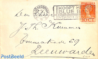Letter with comm. postmark BLUE BAND