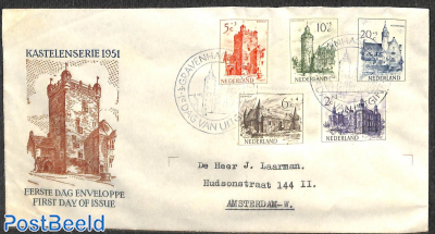 Castles 5v, FDC, closed flap, typed address