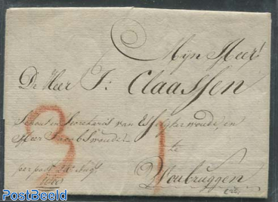 Folding letter from The Hague to Woudbruggen