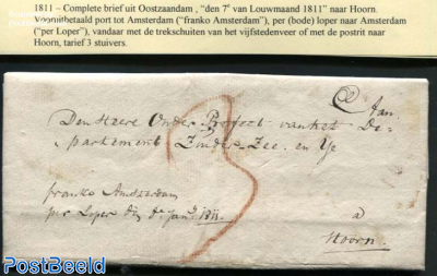 Letter from Oostzaandam to Hoorn, prepaid Porto to Amsterdam (3s)