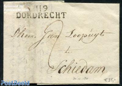 Folding letter from Dordrecht to Schiedam