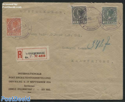 Stamp exposition, Letter with set and special postmark, 15c damaged