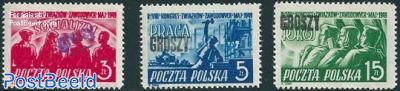 Trade Union Congress 3V with Groszy overprints