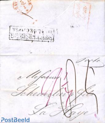 Folding letter from St Petersburg to La Haye (Den Haag NL)