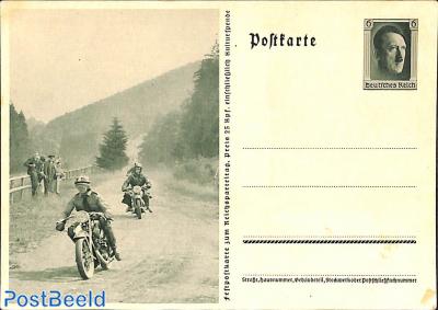 Postcard 6pf, motorraces (some spots)