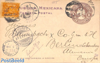 Postcard 1c, uprated to Germany