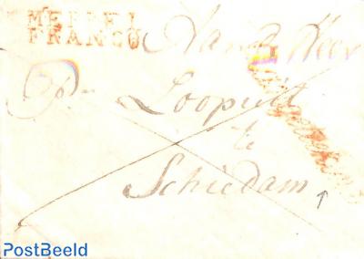 folded letter from Meppel to schiedam (with Meppel mark) AANGETEKEND
