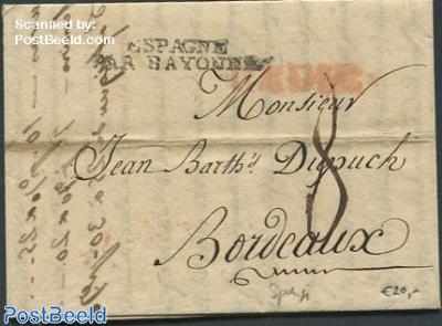 Folding letter to Bordeaux
