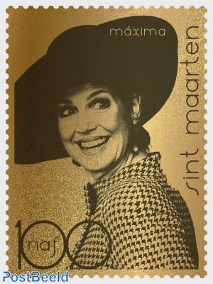 Queen Maxima 50th anniversary 1v, gold