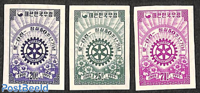 50 years Rotary 3v, imperforated