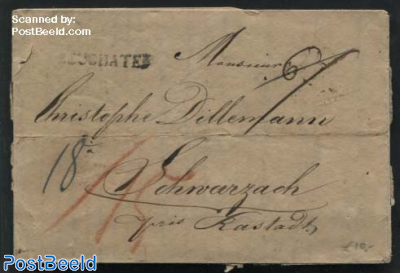 Folded letter from Neuchatel to Schwarzach