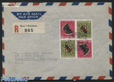 Block of 4, Butterfly/Insect on registered cover